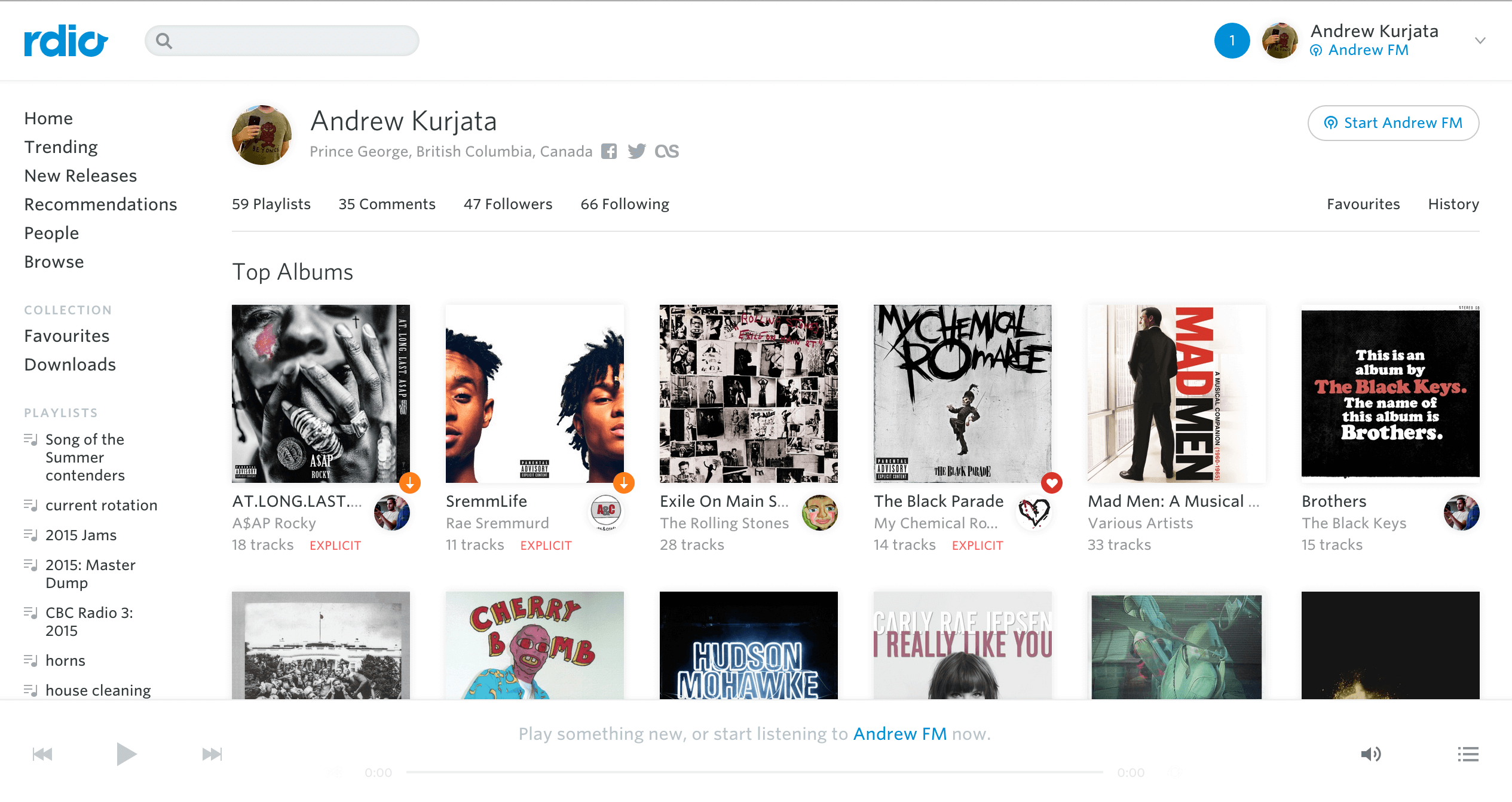 rdio open screen